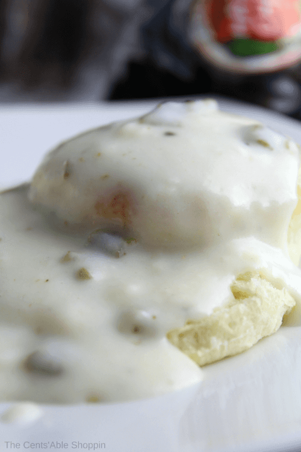 A thick and spicy country gravy speckled with green chiles that's delicious served on flaky country biscuits!
