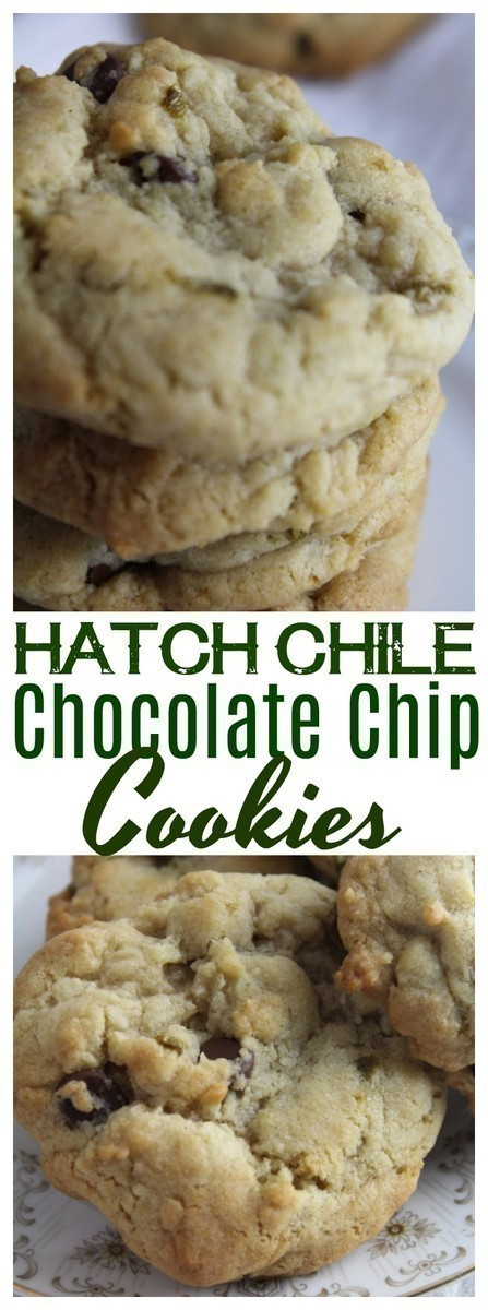 Chocolate Chip Cookies speckled with Hatch Green Chiles. || Hatch Chile Chocolate Chip Cookies give a punch of heat and a unique twist on the regular ol'chocolate chip cookies we know so well!