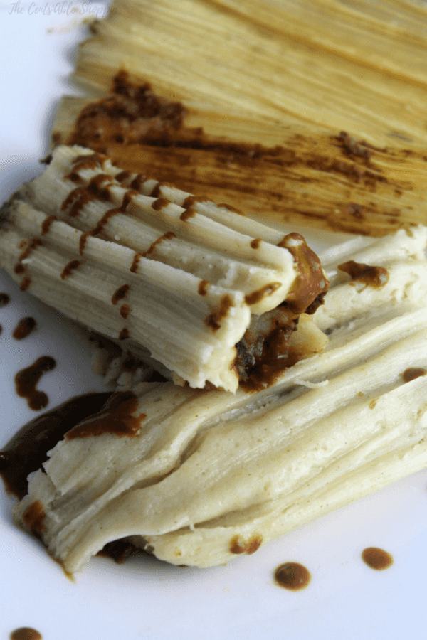 Chunky mashed potatoes smothered in a rich, fragrant Mexican Mole and wrapped in a traditional Mexican Tamale - these are vegan friendly and perfect for a meatless Monday!