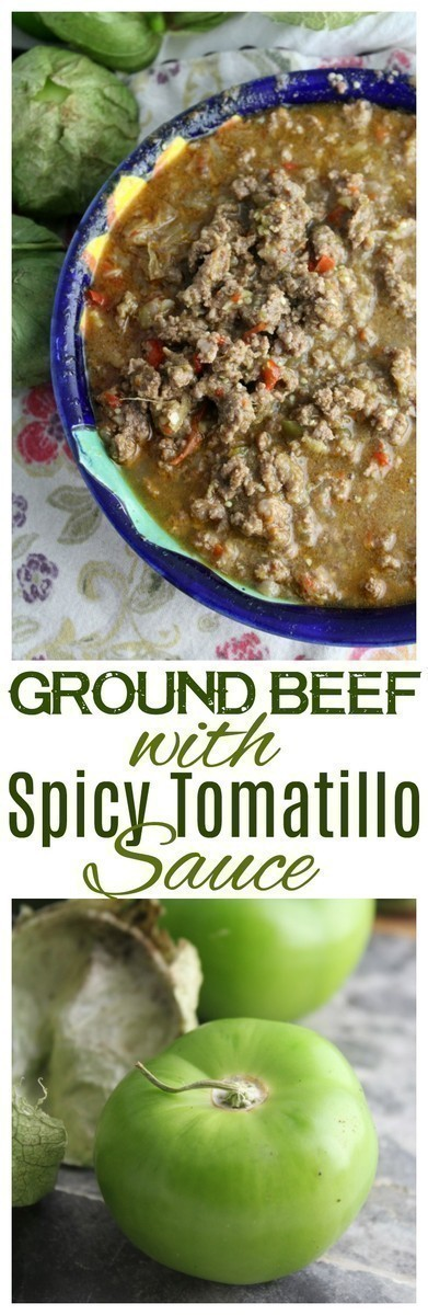 A bold combination of ground beef and tomatillos in a spicy broth that is delicious in tacos, nachos or cilantro rice. #beef #tomatillos #InstantPot