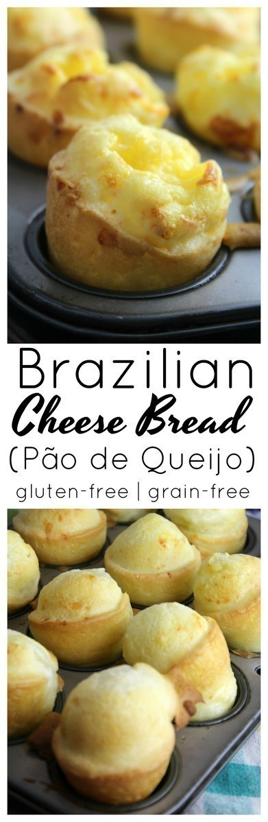 A gluten-free cheesy and chewy cheese roll made with Tapioca Flour and commonly served as a breakfast or snack item in Brazil.
