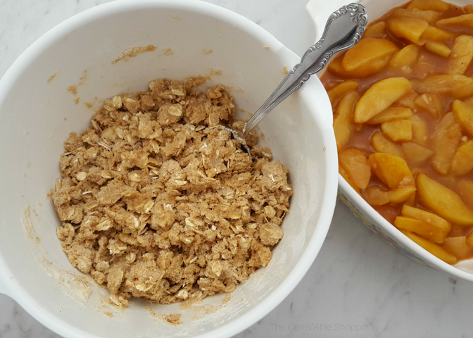 A wholesome, maple sweetened apple crisp that is covered in a gluten-free, oat topping - best when served next to vanilla ice cream or a little whipped coconut cream topping! Everyone will love this dessert! #applecrisp #glutenfree
