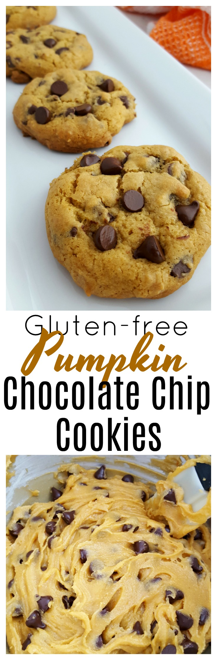 These soft and tender gluten free pumpkin chocolate chip cookies make the perfect fall treat! They are easy to make and will be a family favorite!