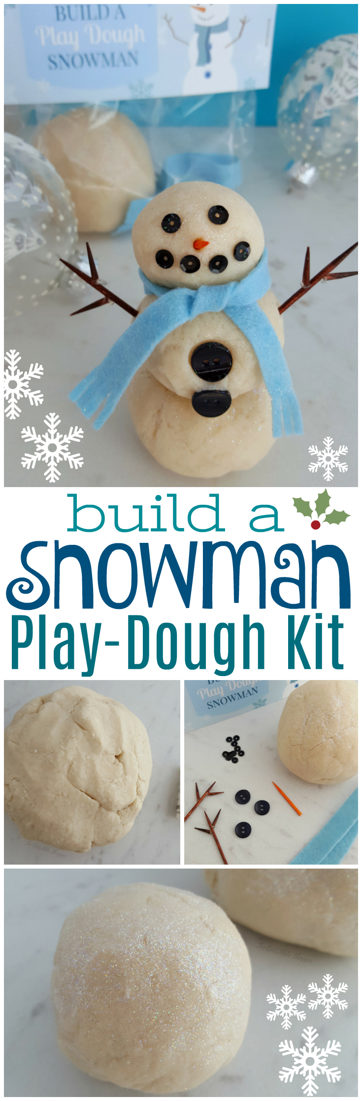 This Build a Snowman Play-Dough Kit is the perfect activity for kids of all ages!  It includes an easy, white, sparkly play-dough recipe, printable label, and all the materials needed to allow you to make your own kit for your children, their classmates, or even family members this holiday season! #snowman #craft #christmascraft #kids #playdough