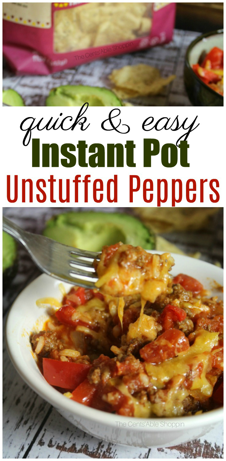 A traditional twist on stuffed bell peppers, Instant Pot Unstuffed Peppers is an easy, family friendly meal with a few simple ingredients, made in just minutes in your Instant Pot! #bellpeppers #peppers #InstantPot #easyrecipe