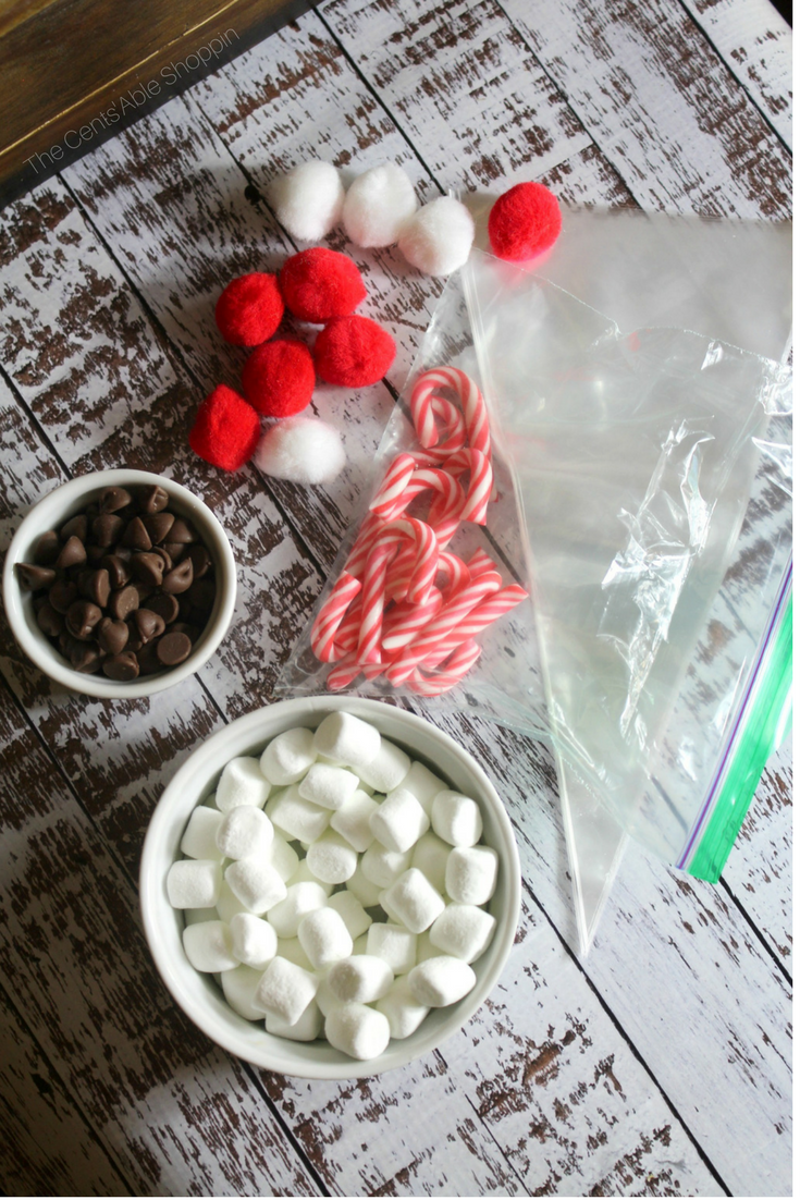 These Santa Cocoa Favor Bags are not only easy to put together, they are a fun little gift for kids at the holiday season.