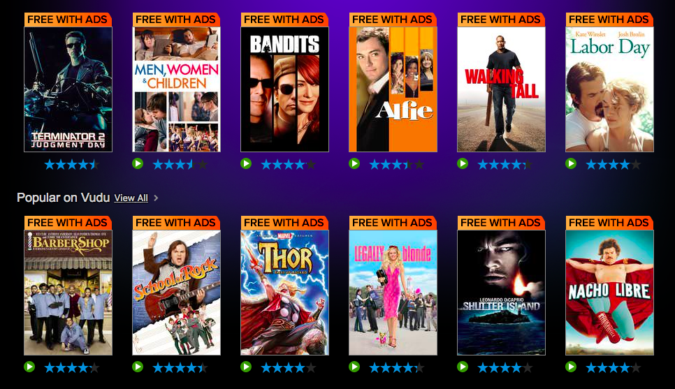 VUDU:  FREE Select Full Length Movies with Ads