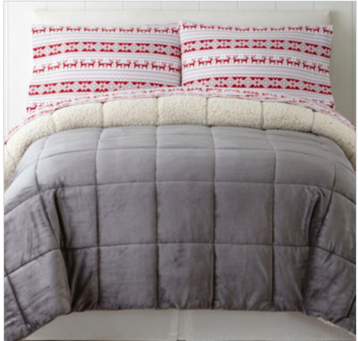 JCPenney: Faux Mink and Sherpa Comforters $51