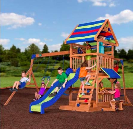 Backyard Discovery Beach Front Wooden Cedar Swing Set $425