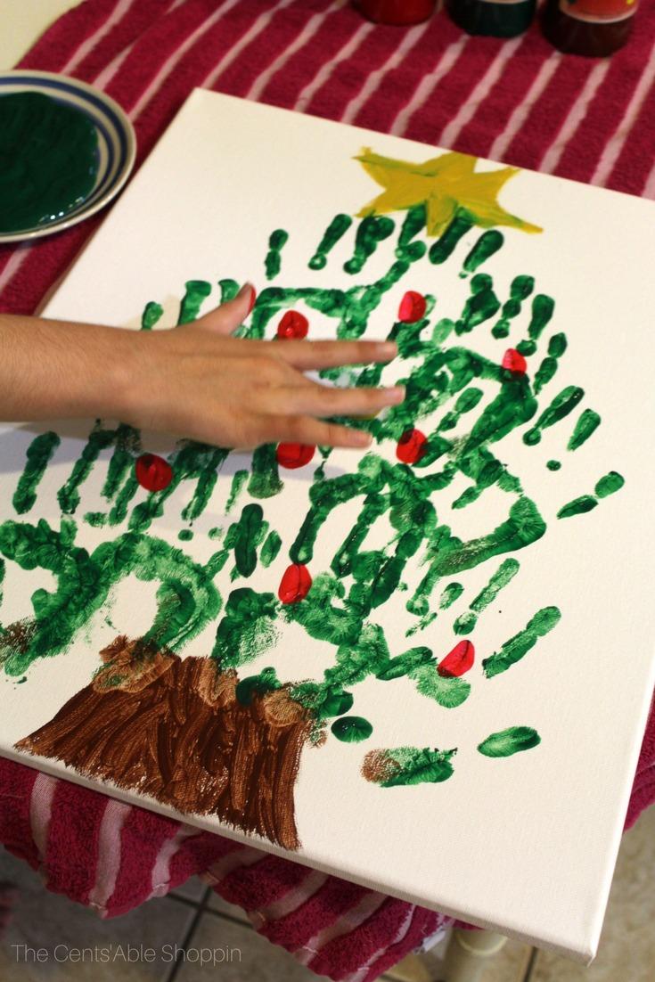 Christmas Tree Holiday Handprint Art