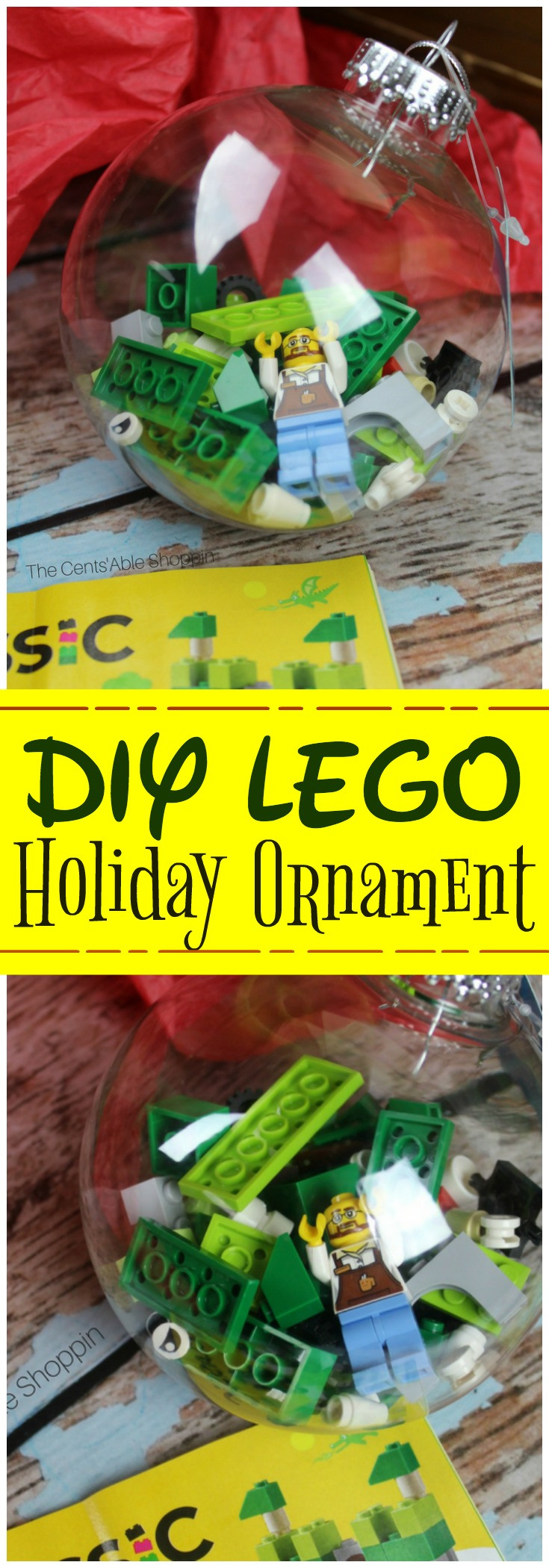 If your kids love LEGOS, they may love this DIY LEGO Holiday Ornament to try this year! The ornament is also a wonderful way to gift a classic LEGO set to cousins and friends! #LEGO #Christmas #ornament #holiday #DIYcrafts