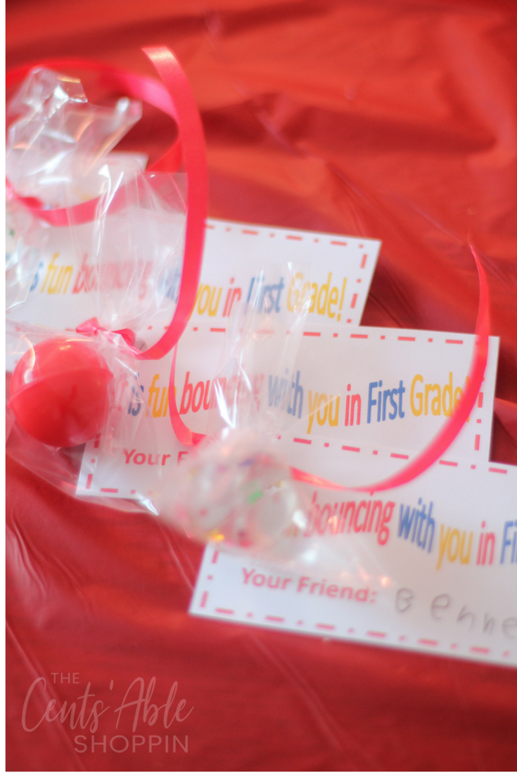 This adorable bouncy ball Valentine is easy to put together and a unique way for boys and girls to celebrate Valentine's Day with friends and family!