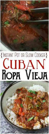 "Ropa Vieja (Instant Pot or Slow Cooker): This flavorful and rich Ropa Vieja cooks up easily in the Instant Pot. This Cuban specialty translates to ""old clothes' in English, because the shreds of meat, peppers, cilantro and onions give the appearance of colorful rags. #InstantPot #PressureCooker #Cuban #beefrecipes #roast"