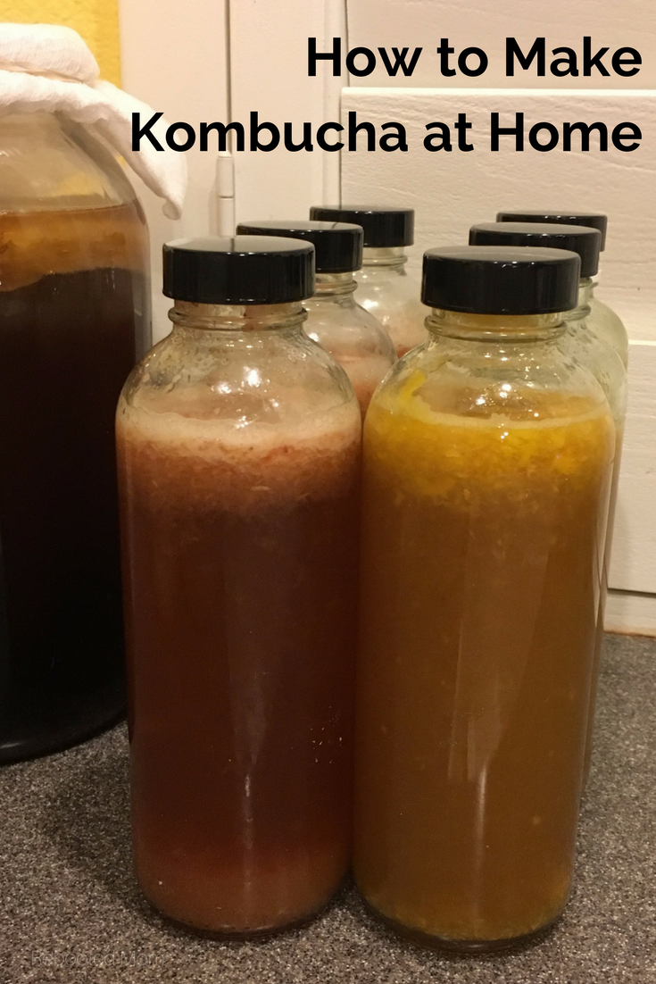 Make Kombucha at Home - Rebooted Mom    Learn how to make your own kombucha & flavor with your choice of fruit!