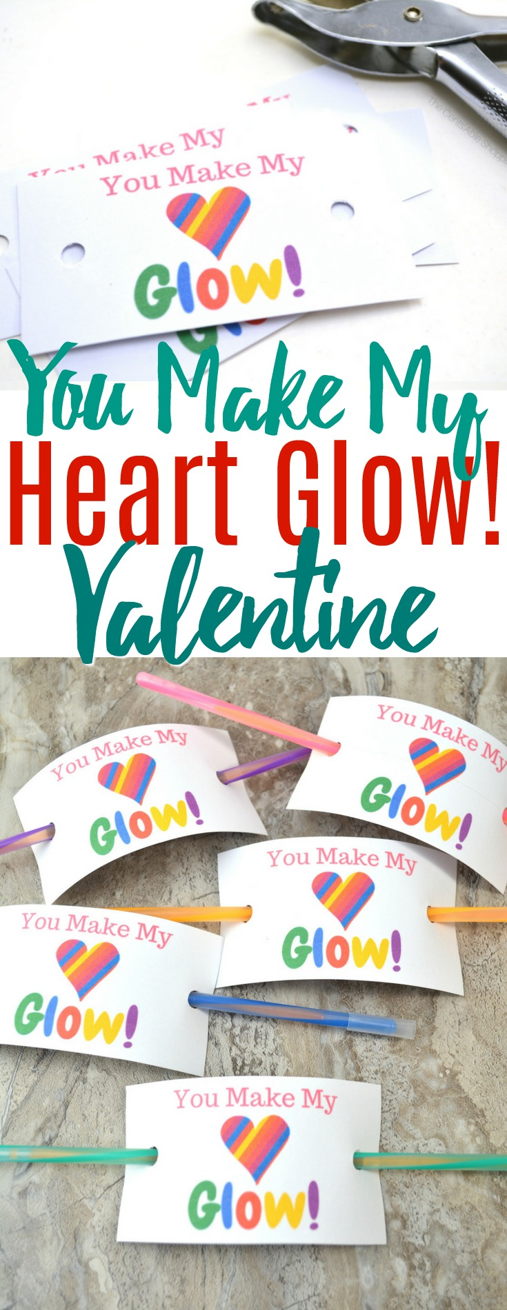 These glow stick Valentine cards are an easy, creative alternative to candy this Valentine's Day and will be loved by kids of all ages! #glowstick #valentine #ValentinesDay #noncandy #printable #freevalentine