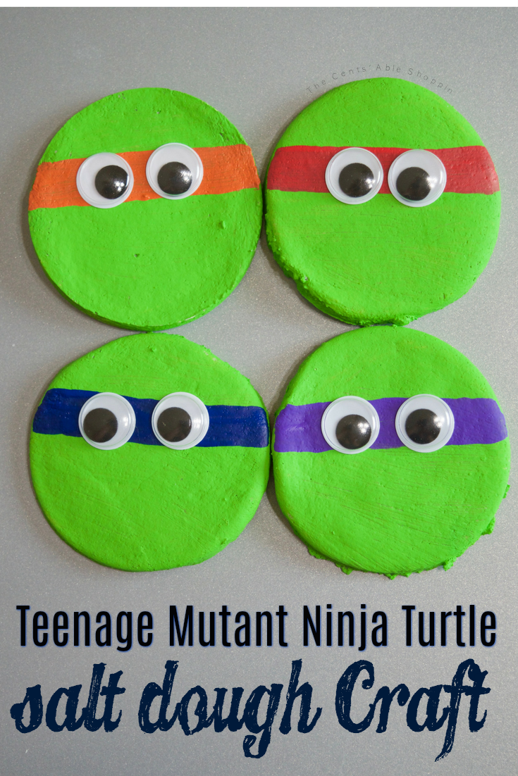 Whip up this easy recipe for salt dough and create this Teenage Mutant Ninja Turtles activity for your kids - it's a wonderful sensory experience and perfect for party favors, a lazy afternoon or even to gift to friends! #sensory #craft #kids #TMNT #saltdough