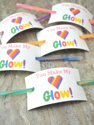 Glow Stick Valentine Cards with FREE Printable