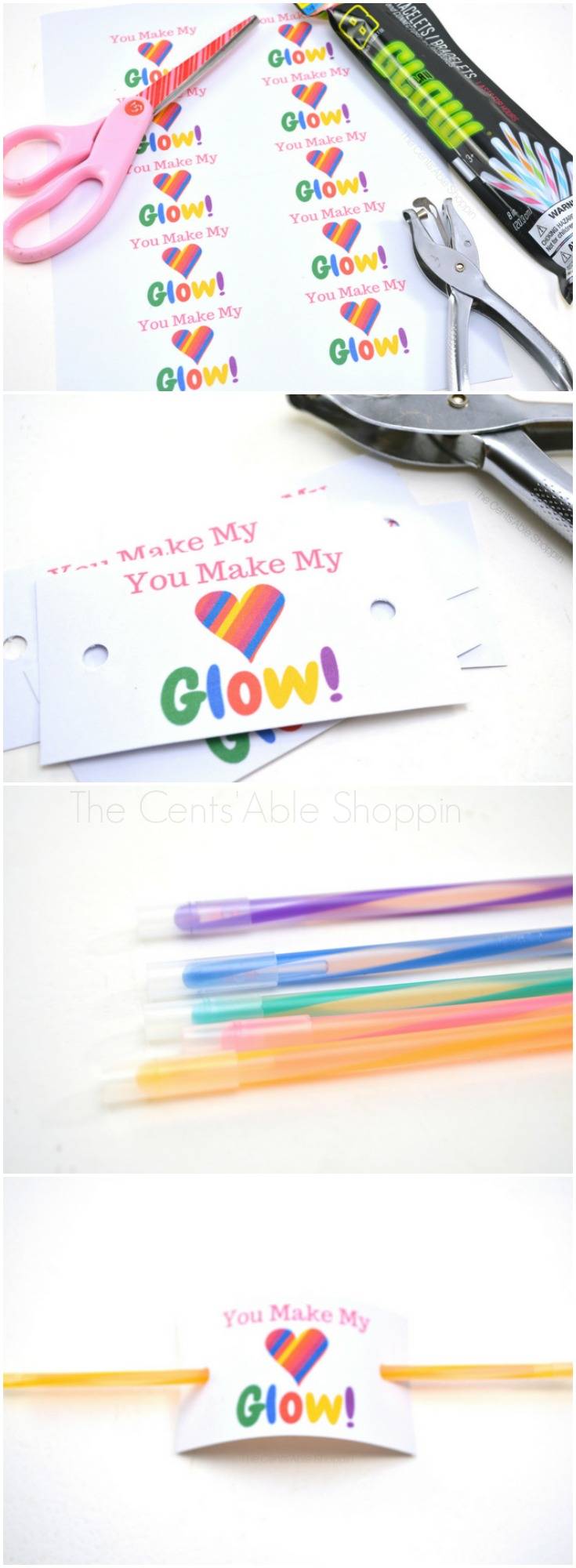 "You Make My Heart Glow Valentine: Instead of giving out candy this Valentine's Day, opt for this cute alternative. Grab a pack of glow sticks and this FREE ""You Make My Heart Glow"" printable! #Valentines #printable #printableValentine #glowsticks"
