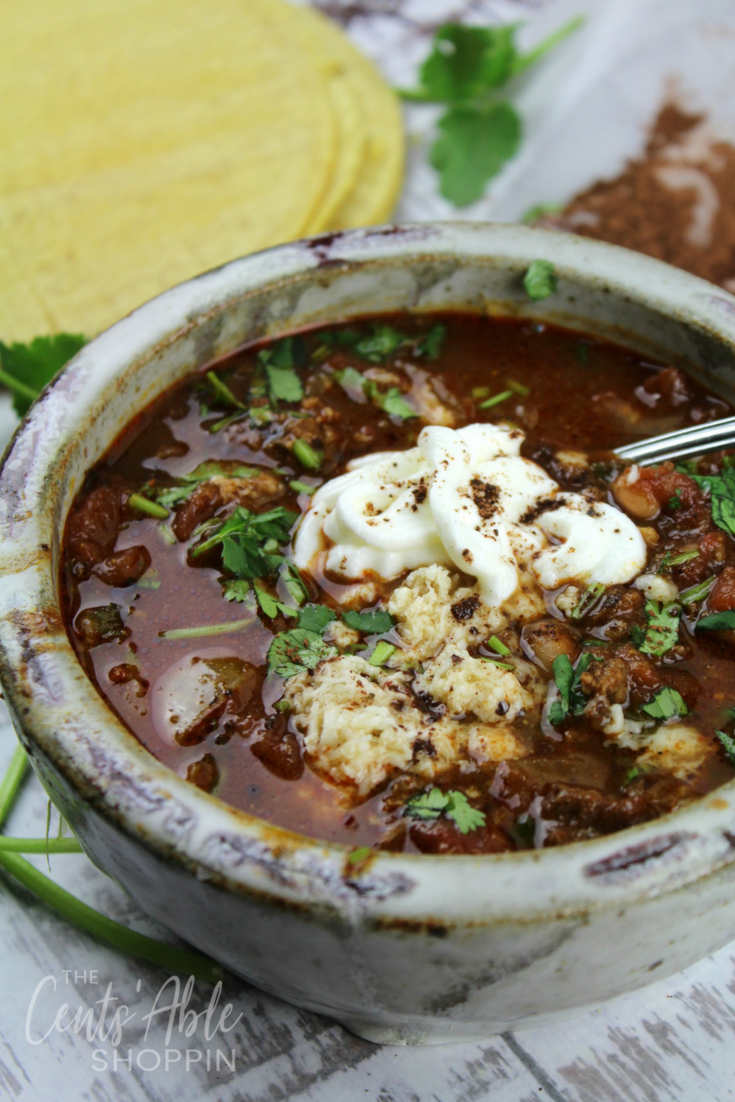 This Mole Chili combines cocoa, zesty salsa and chipotle chili for a delicious recipe that comes together quickly in the Instant Pot or on the Stove Top.