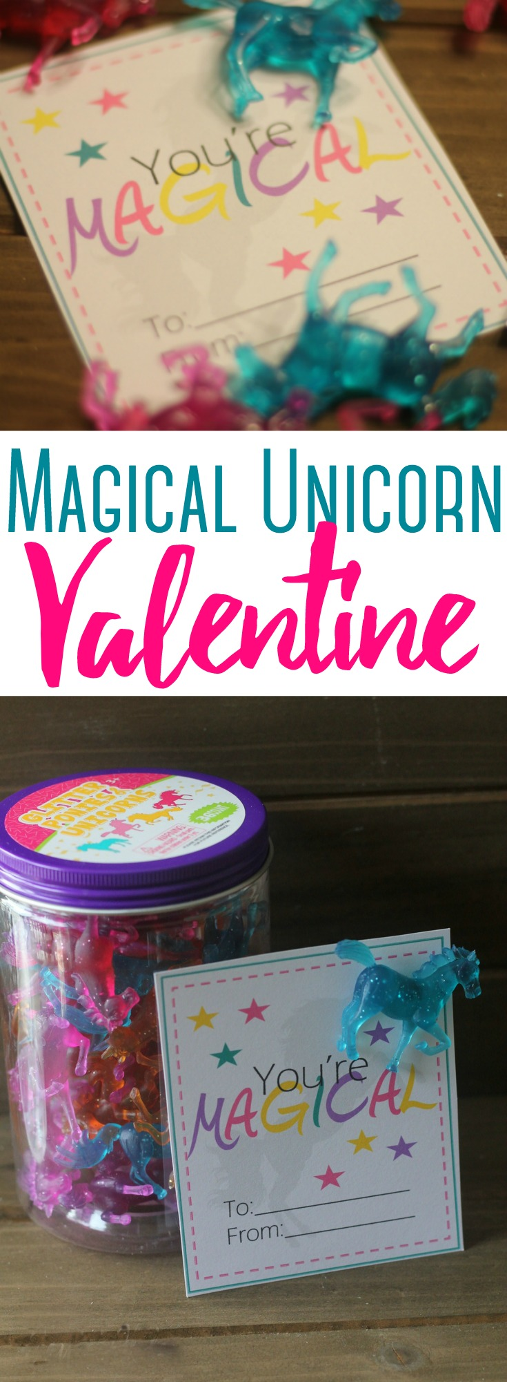 Magical Unicorn Valentine:  Valentine's Day is always so magical.... especially for little girls!  These Unicorn Valentines (with free printable) are easy to assemble and put together in a flash.   #Valentine #ValentinesDay #Unicorn #Printable #NonCandy #kids