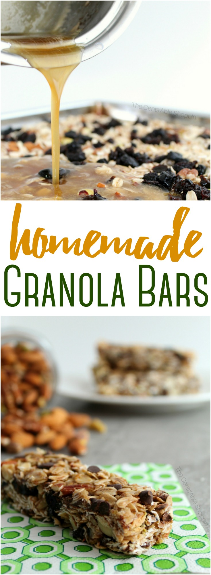 These homemade granola bars are delicious and healthier than any store bought variety. They are soft, chewy and unbelievably adaptable using your favorite mix-ins! #granolabars #homemade #healthysnack #kids #lunchbox #healthy