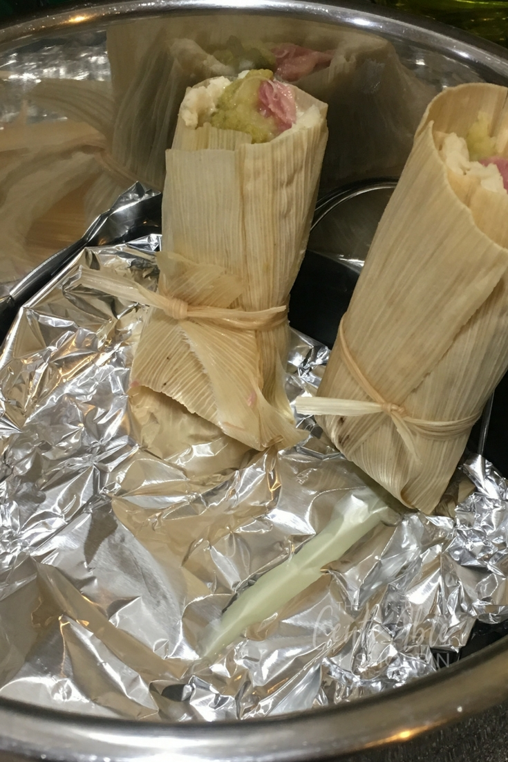 A combination of Irish and Mexican in one ~ tamales stuffed with corned beef, cabbage, potatoes and Hatch green chile sauce. Delish! #Irish #Tamales #CornedBeef #Mexican #StPatricksDay #InstantPot #PressureCooker