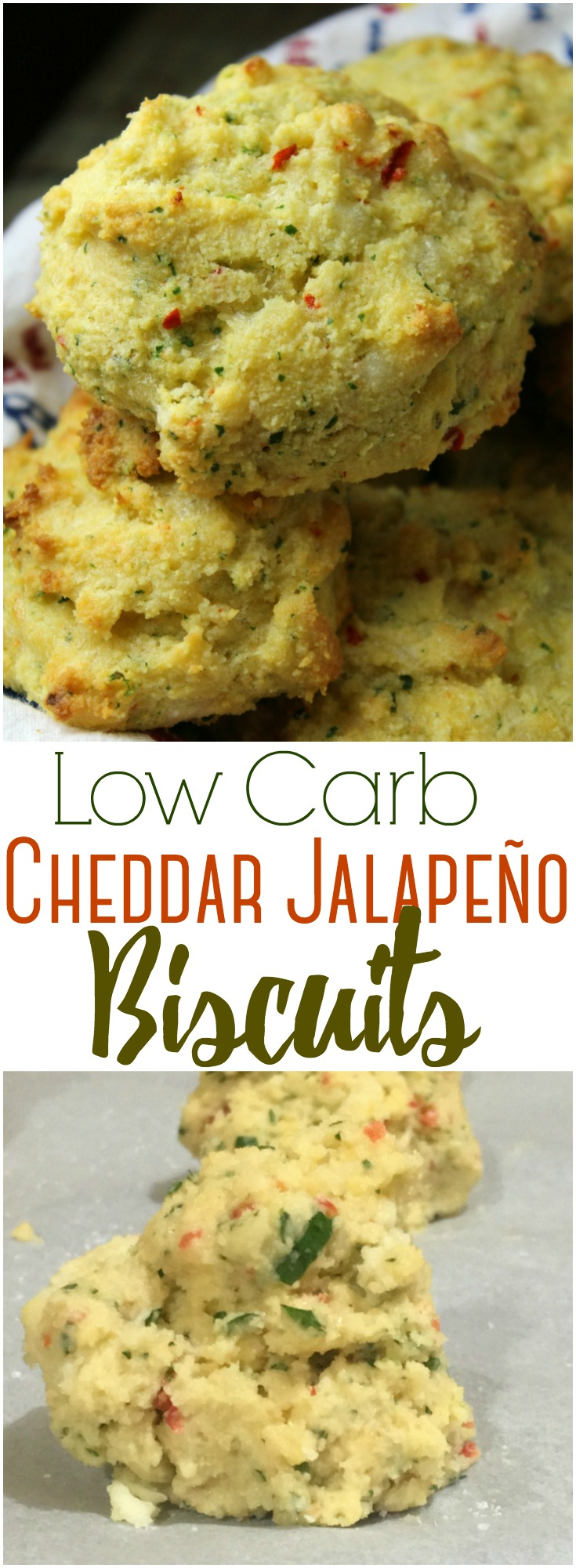 A cheesy cheddar and jalapeño biscuit that's low-carb, Keto-friendly, and SO good you will never go back to regular  biscuits!  #lowcarb #Keto #almondflour #cheese #biscuits #healthyrecipes, #grainfree