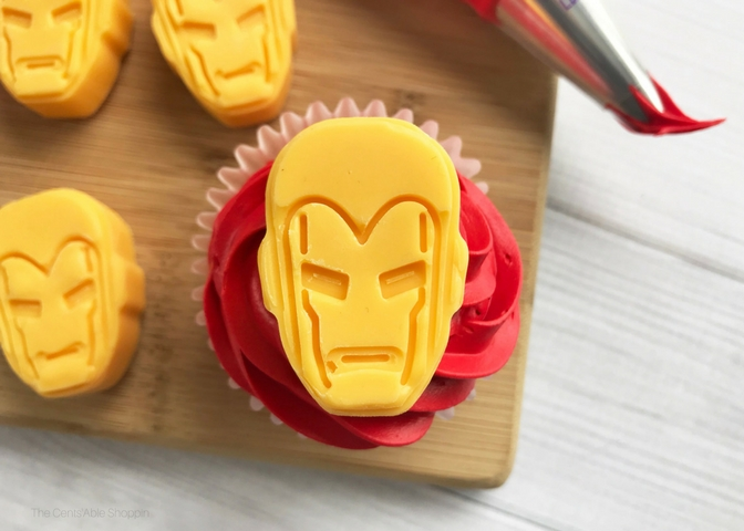 These Iron Man Cupcakes are perfect for a themed birthday party and so easy to put together!