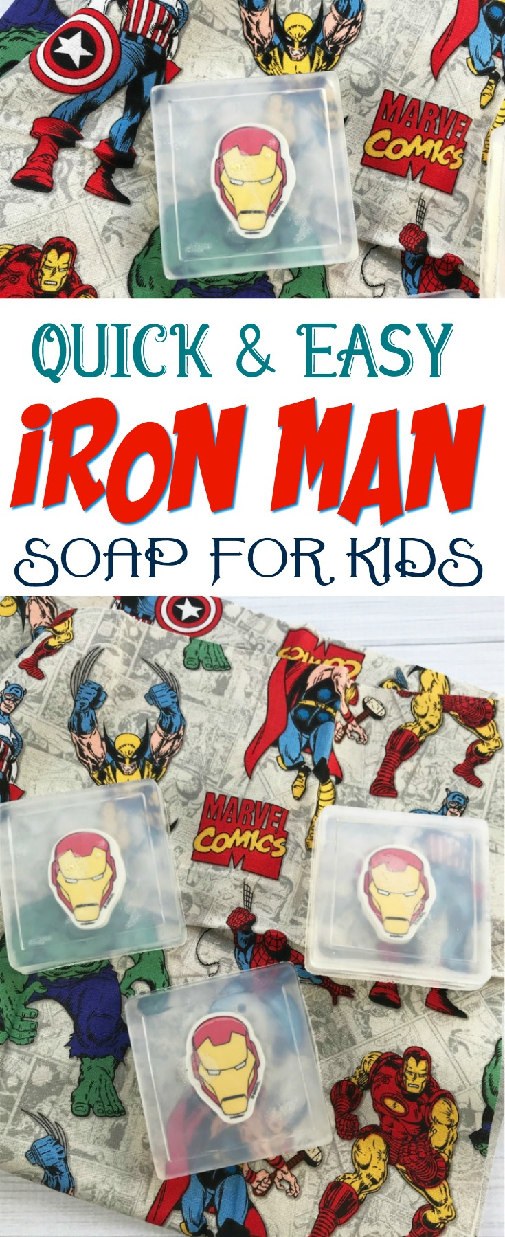 These simple Iron Man Soaps for Kids are perfect for party favors at parties and even for students! #soap #IronMan #birthdayparty #favors #homemadegift #kidssoap #kidspartyfavors #Marvelcomics