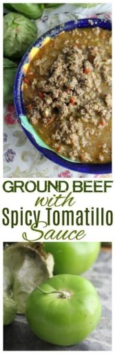 Instant Pot Ground Beef with Tomatillo Sauce