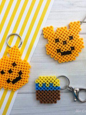 Pooh Perler Bead Keychain