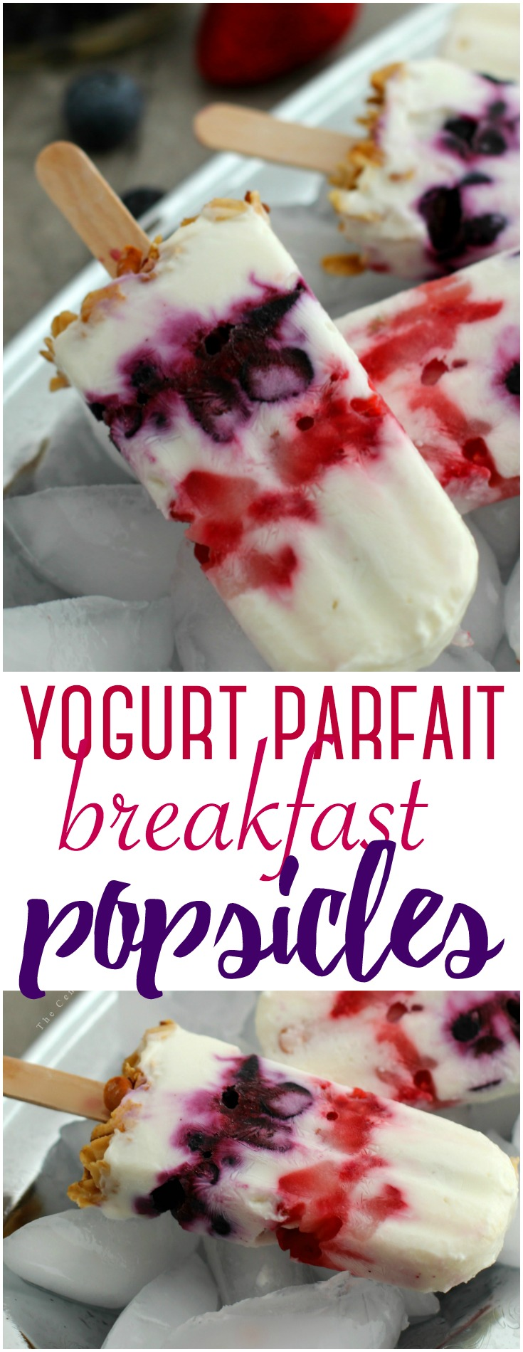 These delicious yogurt parfait breakfast popsicles make a great on the go breakfast for a busy morning - perfect for both kids and adults!