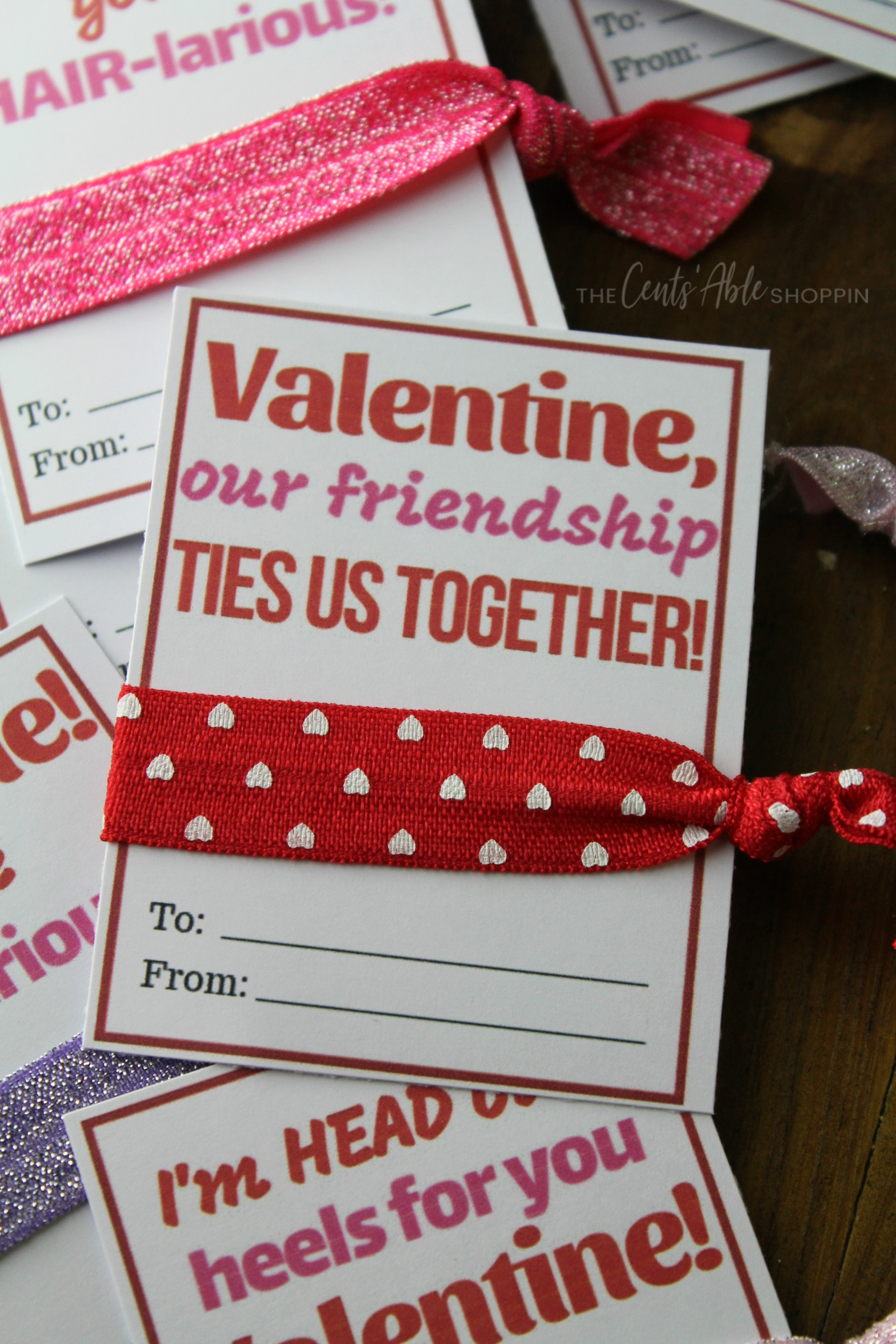 An adorable DIY Hair Tie Valentine that is inexpensive to make and easy to put together - the perfect non-candy Valentine for your child to give!