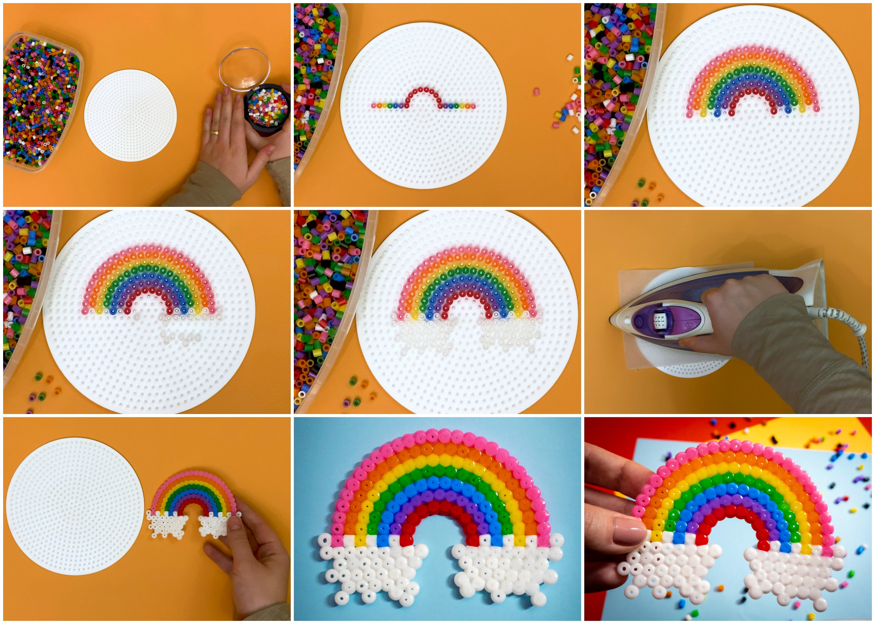 This perler bead rainbow will help kids develop fine motor skills, patience and artistic design while making a cute craft that's fun and colorful!