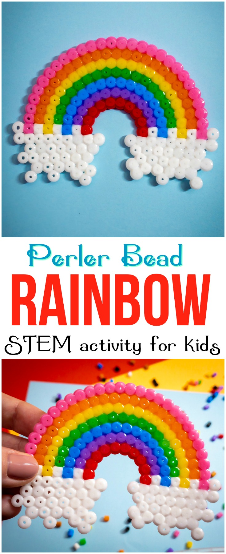 This perler bead rainbow will help kids develop fine motor skills, patience and artistic design while making a cute craft that's fun and colorful! #perler #perlerbead #rainbow #rainbowcraft #kids #craft #STEM