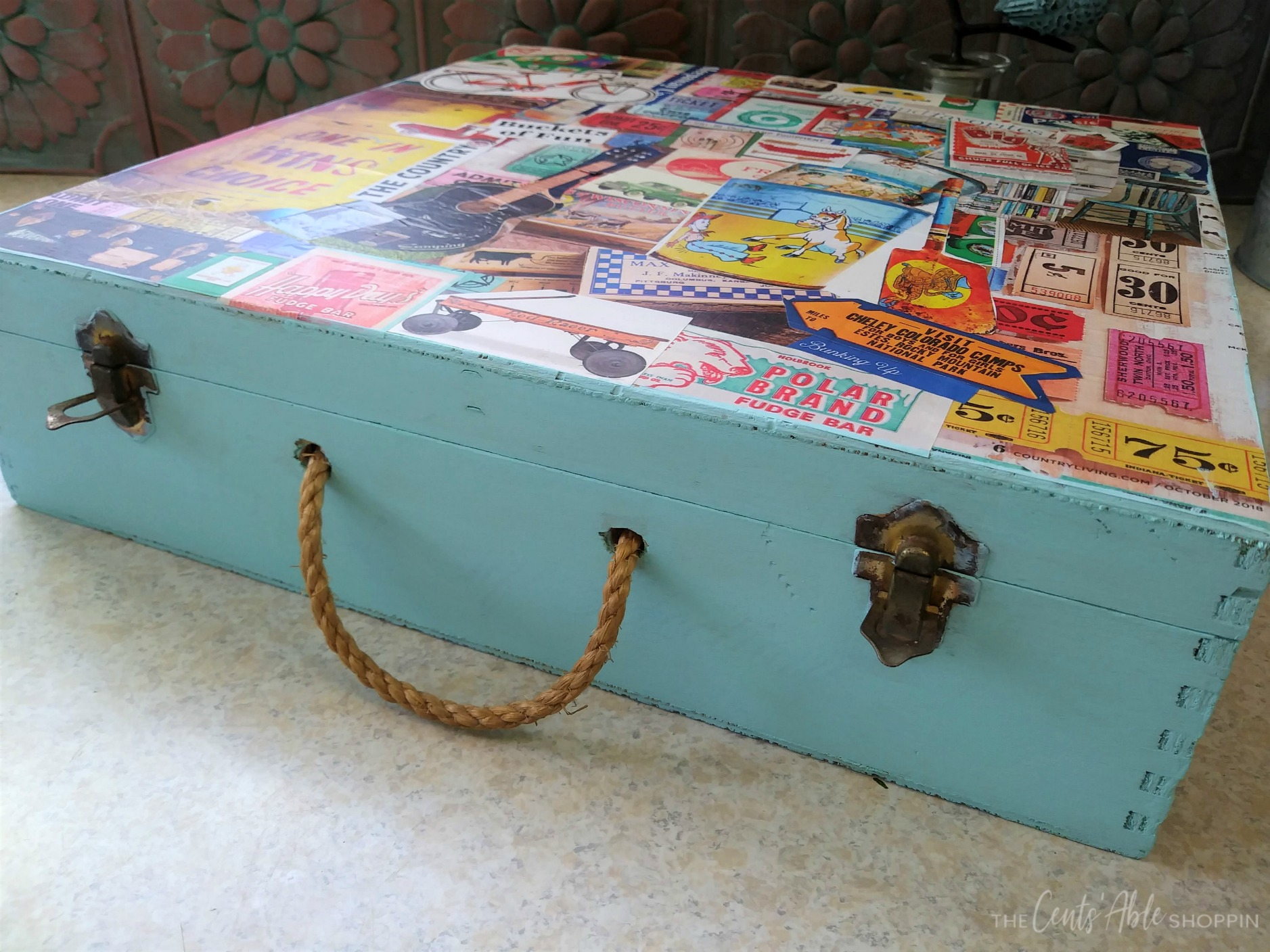 Finished Decoupage Wood Box \\ This decoupage wood memory box combines your favorite inspirational art to create a one-of-a-kind keepsake to store vacation memories or momentos.