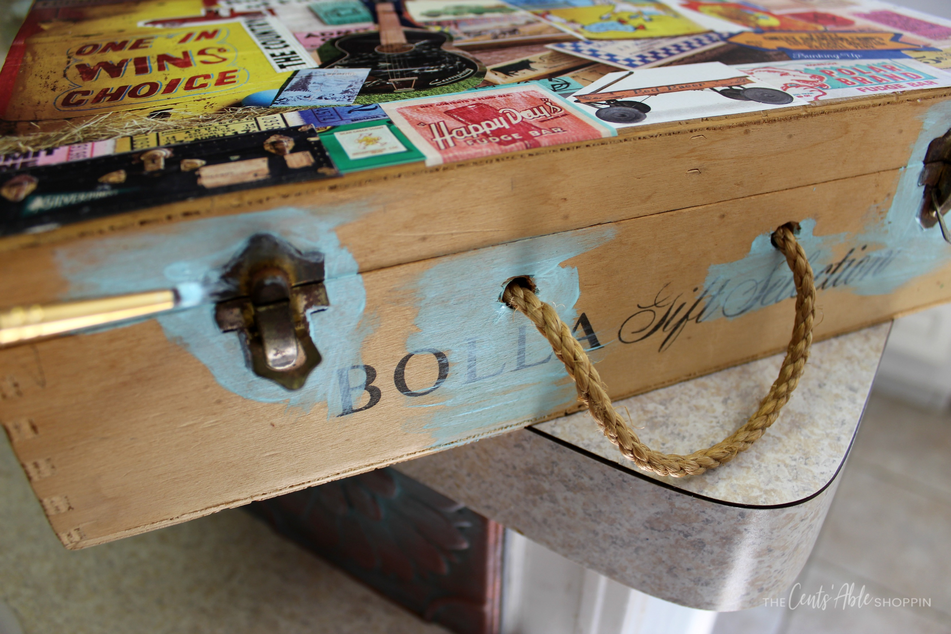 Cleaning handles \\ This decoupage wood memory box combines your favorite inspirational art to create a one-of-a-kind keepsake to store vacation memories or momentos.