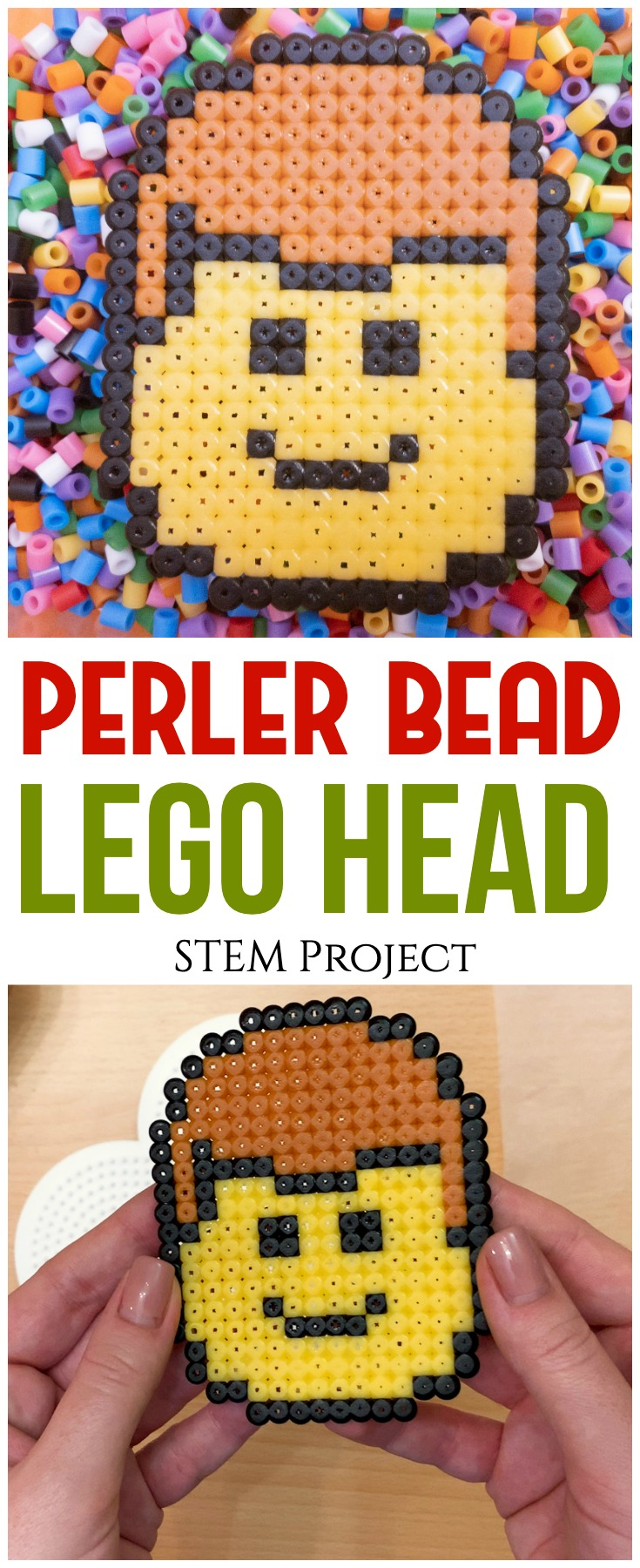 This perler bead LEGO head is a fun and adorable project that will help kids develop fine motor skills, patience and artistic design!