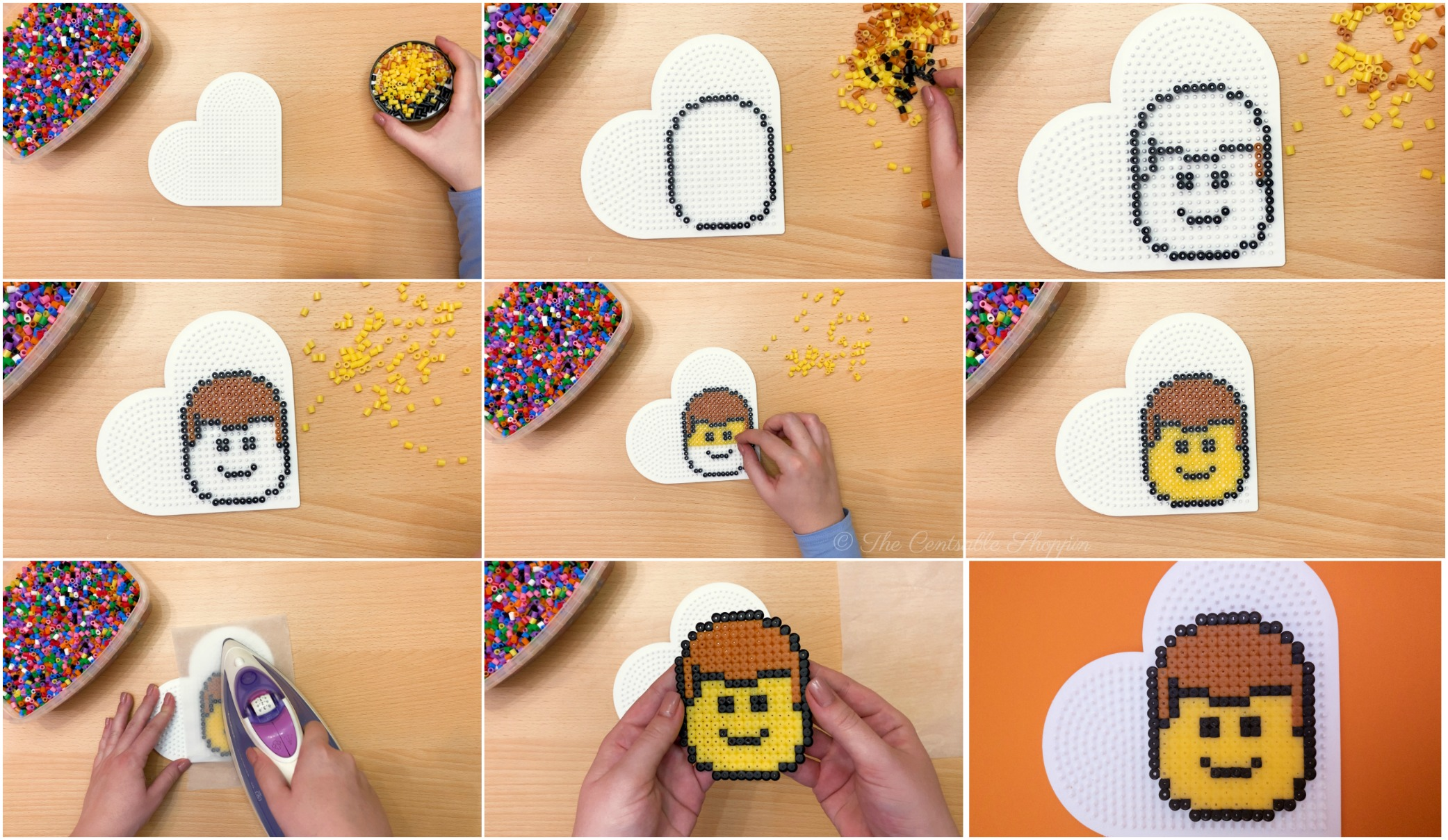 Step by Step \\ This perler bead LEGO head is a fun and adorable project that will help kids develop fine motor skills, patience and artistic design!
