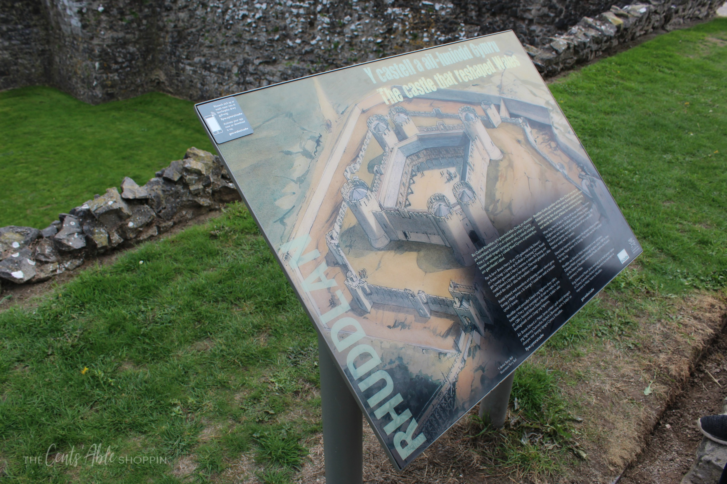 Informational Sign \\ Rhuddlan Castle is a castle located in Rhuddlan, Denbighshire, Wales. It was one of a series of castles erected by King Edward I in 1277.