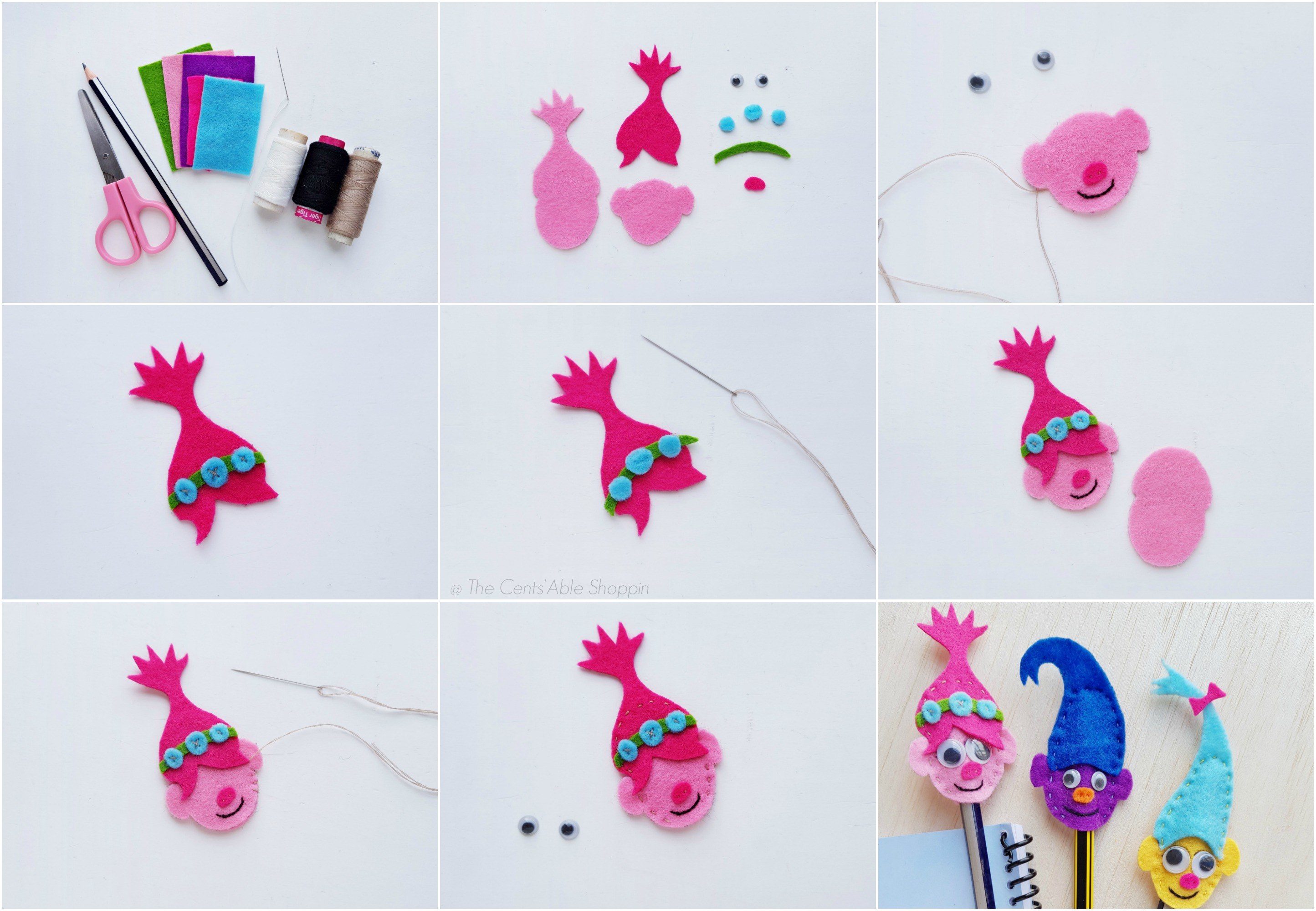 Step by Step - Trolls Pencil Topper