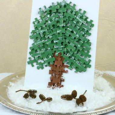 DIY Winter Spruce Puzzle Craft