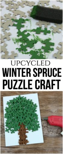 DIY Winter Spruce Puzzle Craft