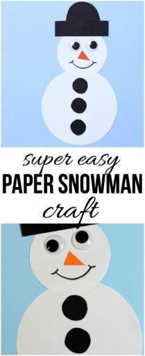 This easy paper snowman craft is a breeze to put together and fun for kids of all ages at the holidays! Make several and paste on paper bags to gift!