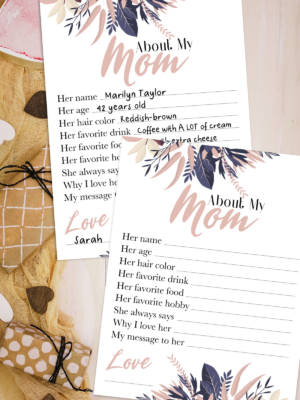 About My Mom Mother's Day Printable