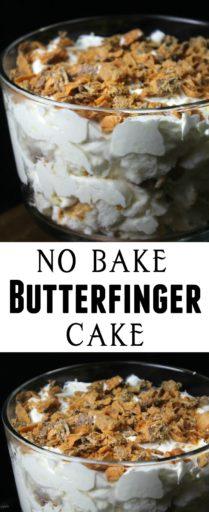 No Bake Butterfinger Cake