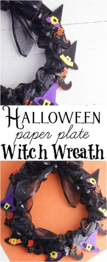 Halloween Paper Plate Witch Wreath