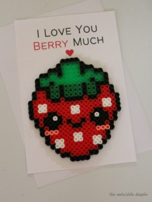 I Love You Berry Much Perler Bead Card
