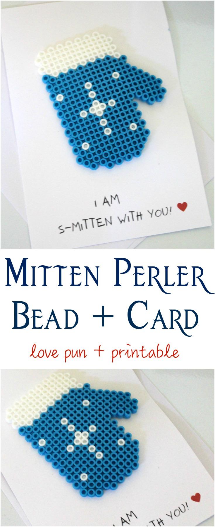 Mitten Perler Bead Love Pun + Card