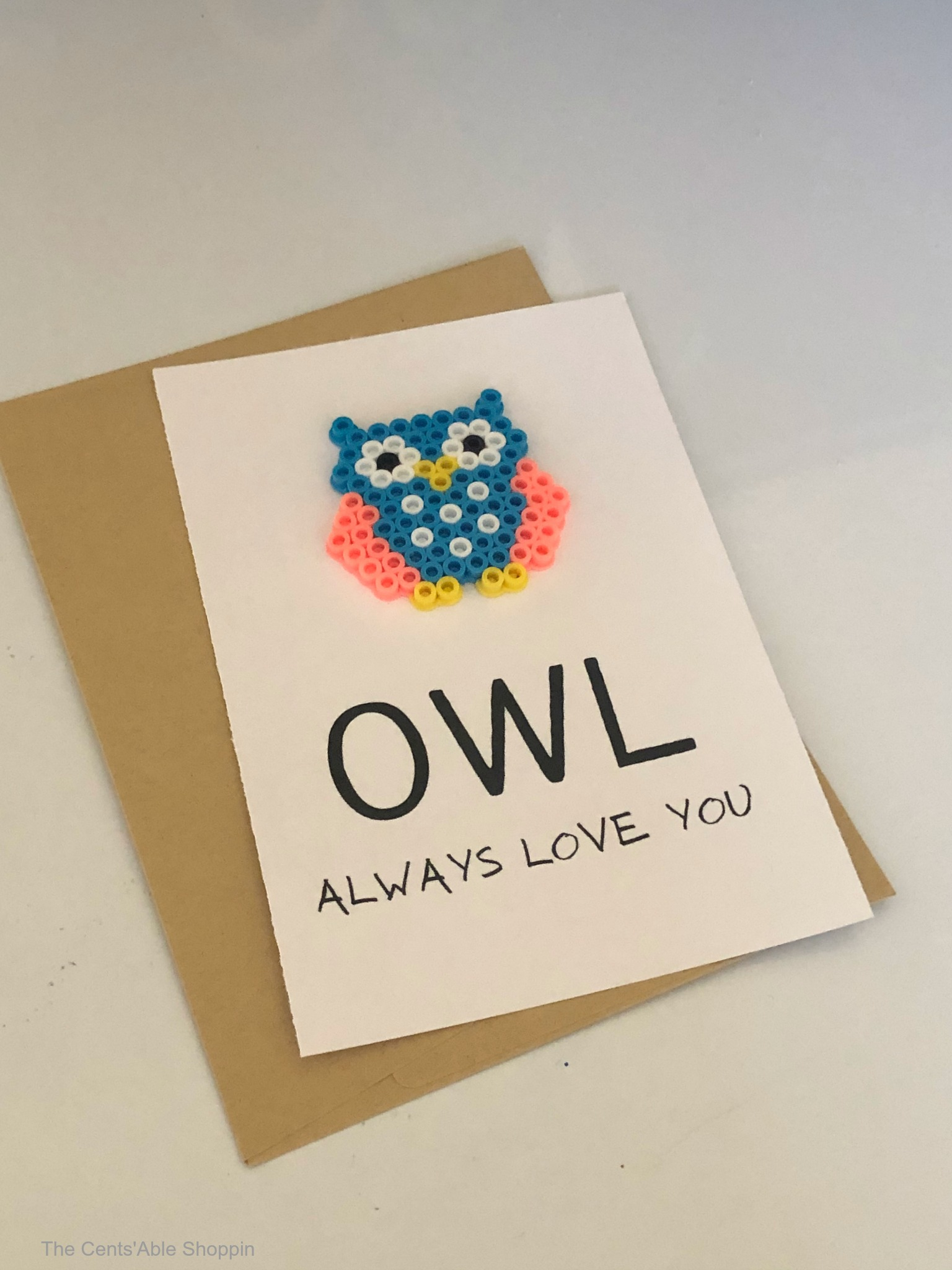 OWL Always Love You Perler Bead Card